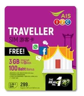 泰國上網)  3GB/8天 3G/4G數據「AIS Traveller Sim」上網卡   由泰國「AIS」網絡供應商推出,專為遊客設計的泰國全國上網卡  無須登記、免設定(*1)、即買即用  可用3GB(*2)3G/4G LTE高速數據,用完後可享限速任用(上限256kbps)  有效期為啟用後連續8天  購送免費100泰銖通話費用,有效期30天  三合一SIM卡設計,適合任何手機  支援手機網絡手享數據