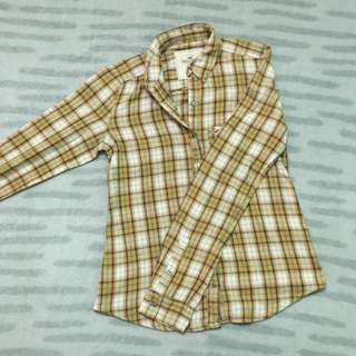 HOLLISTER Yellow Checkered Long Sleeves XS