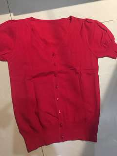 Red short cardigan