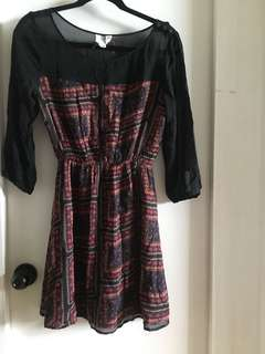 Quicksilver floral and black mesh dress