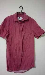Red Short Sleeve Button Up Shirt