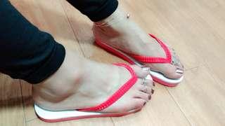 🚚 紅白夾腳拖(Flip-flops)#女裝半價拉