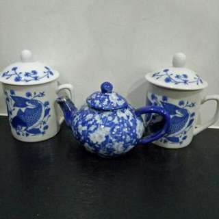 3 Sets - Chinese Tea Pot With Mugs And Covers