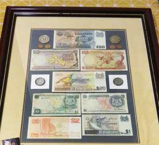 Singapore Old Notes With Frame