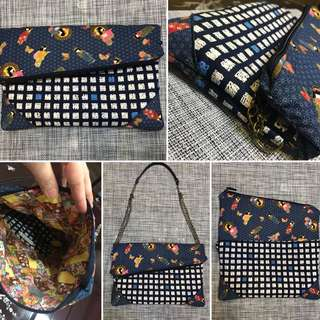 Foldover clutch  woth options  to  sling