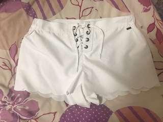 🚚 Roxy 水陸兩用短褲 白色 鬆緊褲頭