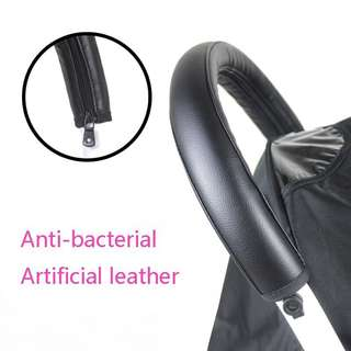 Stroller handle faux leather cover