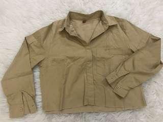 Khaki unfinished cropped shirt