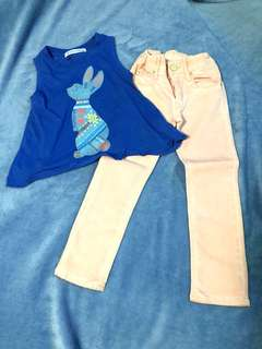 3-4Y BUNDLE: Gingersnaps Blue Top + H&M &Denim Peach Jeans