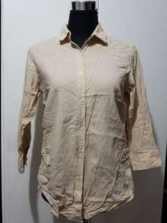 Uniqlo L Long Sleeved Top Checkered Light Brown preloved