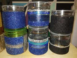 Blue/Black Cookie Jar Glass