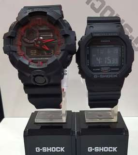 DEADPOOL🌟THEME COUPLE PAIR SET GSHOCK 200M DIVER SPORTS CASIO WATCH : 1-YEAR OFFICIAL WARRANTY: 100% Originally Authentic G-SHOCK Resistant In Best For Most Rough Users & Unisex: DW-5600HR-1DR vs GA-700SE-1A4DR