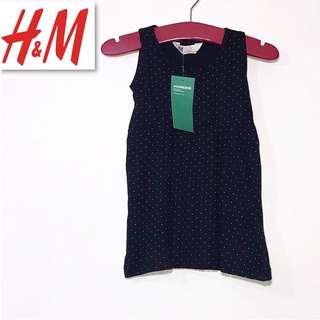 H&M Black Tiny Polka Dots Kids Jersy Dress PK6