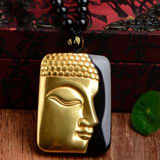 Pure Gold color+ Natural Black Obsidian Carved Buddha Lucky Amulet Pendant
