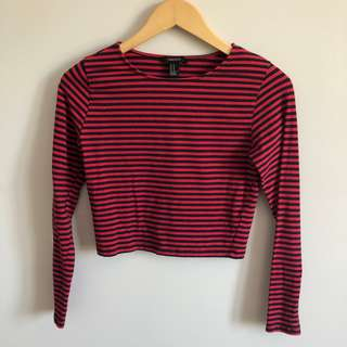 Forever 21 Red and Black Striped Cropped Long Sleeve Top