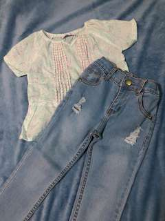 5-7Y BUNDLE: Gingersnaps Top + Just Jeans Tattered Pants