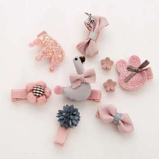 *In Stock* BN Sweet Girls' Assorted Cute Animal Flower Bow Knot Hair Clips Accessories Boxed Set Pink