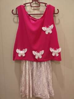 Pink white Casual dress