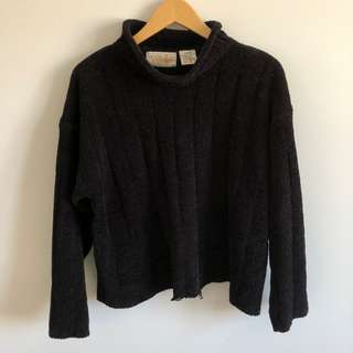 Vintage Black Chenille Turtleneck Sweater