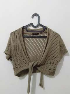 Brown Wood Knitted Crop Top (Outer/Cardigan)
