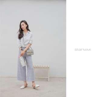 Starmimi設計款 清新條紋棉麻無袖上衣寬褲套裝 studio doe