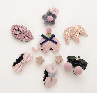 *In Stock* BN Sweet Girls' Assorted Cute Animal Flower Bow Hair Clips Accessories Boxed Set ~ Glittery Pink