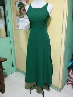 Green sexy back gown long dress wih slit