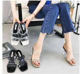 🚚 預購®️韓系時尚百搭水晶透明粗跟高跟鞋涼鞋