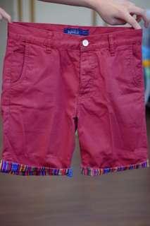 Topman maroon navajo shorts