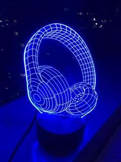 Lampu Tidur LED 3D Headphone