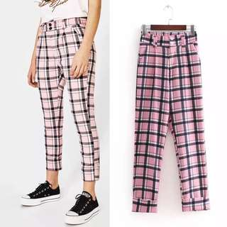 European and American plaid trousers
