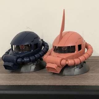 【二手】機動戰士鋼彈系列-粉紅色夏亞專機&黑色三連星薩克頭 MS-06 ZAKU Ⅱ 2顆