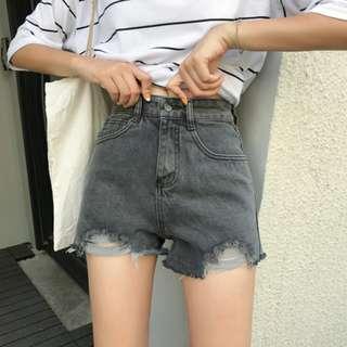 韓系簡約 休閒實搭高腰百搭抽鬚毛邊不規則修身顯瘦牛仔短褲