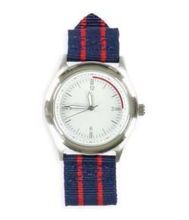 Aeropostale (美國牌子) 潮牌潮流手錶 Striped Band Round Casual Watch navyred One Size