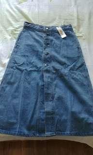 Vintage denim midi skirt-brand new with tag
