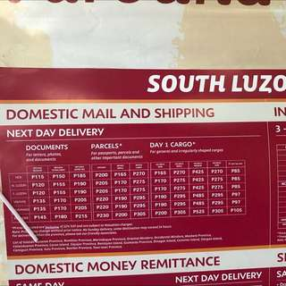 LBC rates for South Luzon