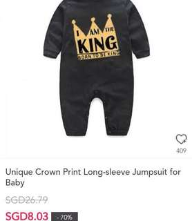 Unique Crown Print Long sleeve Jumpsuit for Baby