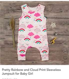 Pretty Rainbow and Cloud Print Sleeveless Jumpsuit for Baby Girl