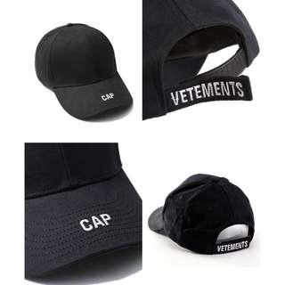 VETEMENTS Cap in Black Topi Baseball supreme hat off white snapback