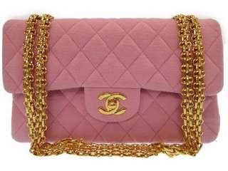 Vintage Chanel櫻花粉布質金鏈2.55 classic flap 23x14x6.5cm
