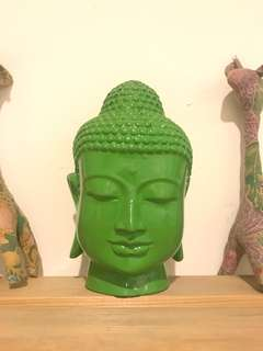Buddha Head in Green