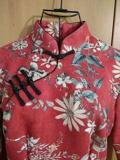 🚚 兩件免運。全新古典美中式氣質紅色花漾麂皮絨長袖洋裝改良旗袍