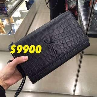 Ysl bag in black 黑色斜咩袋 鱷魚皮 crossbody