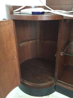 Rare vintage display cabinet with circular side cupboard