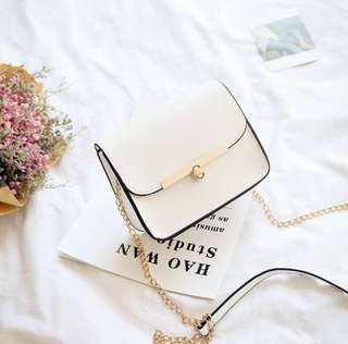 Korean Sling Bag  Small Square small clear new New style chain one-shoulder bag small bag (White)