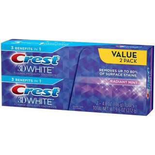CREST 3D WHITE RADIANT MINT WHITENING TOOTHPASTE 4.8 oz (Twin pack)