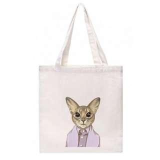 Cool Art Zipper Tote Bag (Serious Cat)