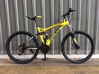 "🚚 MTB 26"" CROLAN S935 Full Suspension Aluminium Frame 21 Speed Shimano Gear Mechanical Disc Brakes Bicycle #CarouPay"