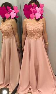 Blush Spaghetti Strap Long Gown (Small-Medium)