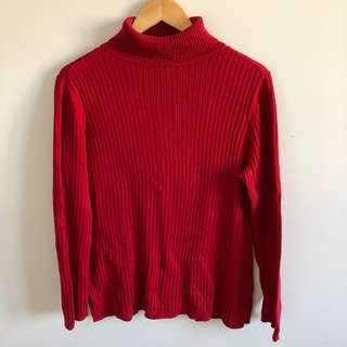 Red Ribbed Turtleneck Sweater
